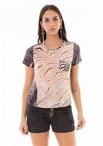 T-Shirt Estampada com Bolso Funcional - T-shirt Estampada com Bolso Funcional - Preto Zebrado G