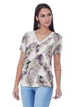 T-Shirt Estampada com Decote em Tricô