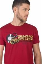 T-Shirt Estampada Throw Back Saturday Vermelho Escuro Vermelho Escuro/P