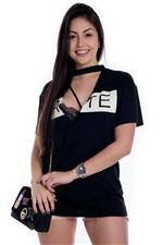 T-shirt Feminina com Decote V e Gola Hate BL3328 - Kam Bess