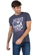 T-Shirt Fit Flamê Estampada Jeans Azul Jeans Azul Jeans/M