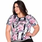 T-Shirt Frente Floral Plus Size P