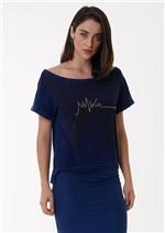 T-Shirt Jeans Ombro a Ombro com Bordado