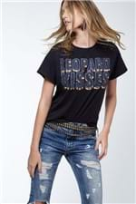 T-Shirt Leopard Kisses Black Preto - P