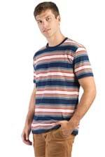 T-Shirt Listrada Azul Marinho Azul Marinho/GG