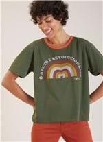 T-shirt Local Afeto Revolução Verde Escuro Gg