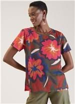 T-shirt Local Floral Bold Marrom Gg