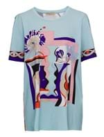 T-Shirt Manga Curta de Algodão Estampada Azul Tamanho ME