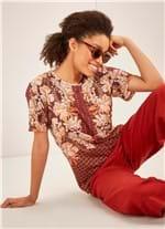 T-shirt Manga Curta Estampada Floralina MARROM M