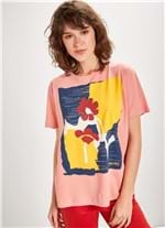 T-shirt Manga Curta Silk Fun Flowers ROSA G