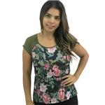 T-Shirt Militar com Floral G