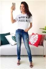 T-shirt Morena Rosa Decote Redondo Estampada - Branco
