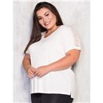 T-Shirt Plus Size com Detalhe em Guipir M