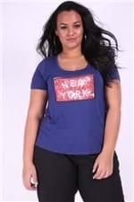 T-shirt Plus Size com Paetê Dupla Face Azul Marinho P