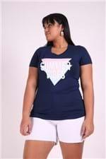 T-shirt Silk Summer Vibes Plus Size Azul Marinho P