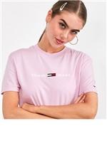 T-Shirt Tommy Jeans Clean Linear Lilás Tam. P