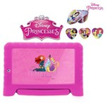 Tablet Kid Pad Plus das Princesas da Disney com Capa Emborrachada Ergonômica, Android 7.0, Quad Core, Multilaser + Porta Jóias das Princesas