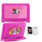 Tablet Multilaser das Princesas Case Emborrachado Tela 7 + Anel Brilhantina