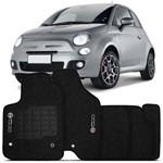 Tapete Carpete Fiat 500 Grafite 2010 a 2014 Logo Bordado 2 Lados Dianteiro