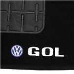 Tapete Carpete Gol G5 G6 Preto 2008 à 2016 Logo Bordado Volkswagen
