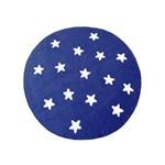 Tapete de Pelúcia Redondo Estrelas Marinho e Branco (1,10 X 1,10m)