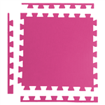 Tatame 1m X 1m X 20mm + 3 Borda Acabamento - Rosa Rosa