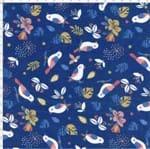 Tecido Estampado Aveludado - Birds Cor 01 (0,50x1,40)