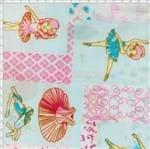 Tecido Estampado para Patchwork - 51087 Bailarinas - Azul com Pink Cor 03 (0,50x1,40)