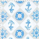 Tecido Estampado para Patchwork - 69012 Nautica Bege Cor 01 (0,50x1,40)