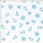 Tecido Estampado para Patchwork - 69013 Nautica Fundo Branco com Azul Cor 01 (0,50x1,40)
