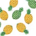 Tecido Estampado para Patchwork - Abacaxi: Ananás Fundo Branco (0,50x1,40)