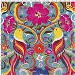 Tecido Estampado para Patchwork - Afonso Franco: Pássaros com Flores (0,50x1,40)