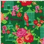 Tecido Estampado para Patchwork - Arte em Cores Gaiola com Rosas (0,50x1,40)