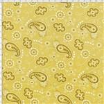 Tecido Estampado para Patchwork - Bandana Retrô Mostarda Premium (0,50x1,40)