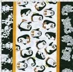 Tecido Estampado para Patchwork - Barrado de Galinha, Vaquinha, Pinguim e Ovo 01 (0,50x1,40)