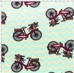 Tecido Estampado para Patchwork - Bicicletas Chevron Cor 1681 (0,50X1,40)