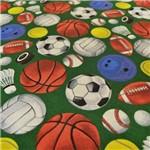 Tecido Estampado para Patchwork - Bola de Jogos Fundo Verde Cor 01 (0,50x1,40)