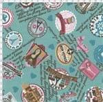 Tecido Estampado para Patchwork - Casa Belém Je T'aime Vive com Emblemas (0,50x1,40)