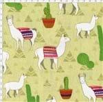 Tecido Estampado para Patchwork - Coleção Andina Lhamas Fundo Amarelo (0,50x1,40)