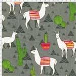 Tecido Estampado para Patchwork - Coleção Andina Lhamas Fundo Cinza (0,50x1,40)