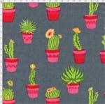Tecido Estampado para Patchwork - Coleção Cactos Flowers Cactos com Flor Fundo Cinza (0,50x1,40)
