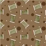 Tecido Estampado para Patchwork - Coleção Costura Country Mini Carreteis Fundo Marrom (0,50x1,40)