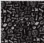 Tecido Estampado para Patchwork - Coleção Eduk Lousa Preto e Branco Cor 01 (0,50x1,40)