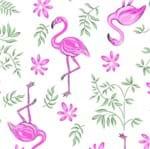 Tecido Estampado para Patchwork - Coleção Flamingo com Ramos Fundo Branco (0,50x1,40)