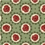 Tecido Estampado para Patchwork - Coleção Floral Country Círculo Verde (0,50x1,40)