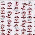 Tecido Estampado para Patchwork - Coleção Folk Gaiola com Pássaros Fundo Cinza (0,50x1,40)