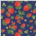 Tecido Estampado para Patchwork - Coleção Fresh Fruits Morango Fundo Azul (0,50x1,40)