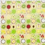 Tecido Estampado para Patchwork - Coleção Frutas Salada de Frutas Cor 01 Bege (0,50x1,40)