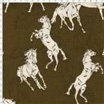 Tecido Estampado para Patchwork - Coleção Haras: Cavalos Fundo Marrom (0,50x1,40)