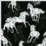 Tecido Estampado para Patchwork - Coleção Haras: Cavalos Fundo Preto (0,50x1,40)